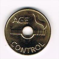 ZWITSERLAND  SIGARETTEN  PENNING - AGE  CONTROL - Jetons En Medailles