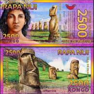 Easter Island, 2500 (2,500) Rongo, 2011, Polymer, New, UNC - Banconote