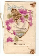 Carte Double Celluloid En Relief, Colombe, Cloche Doree 1929 - Fancy Cards