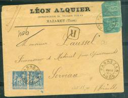Yvert N°90 X 2 + N°75 X 2 Sur LSC Recommandée  Oblitéré  Cad Fabrezan , AUDE , En Mars 1894  - Aw8504 - 1877-1920: Periodo Semi Moderno