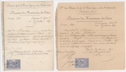 2 TITRES CIE DES CHEMINS DE FER PARIS LYON MEDITERRANEE - 1875 ET 1877 - Chemin De Fer & Tramway