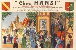 CP - Pub Reclame Chez Hansi - Grande Brasserie Alsacienne Paris - Illustr. Marcel Derulle - Publicité