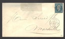FRANCE 1863 N° 22 Obl. S/Lettre Entiére Paris Bureau DS2 Avec 1529 - 1862 Napoleon III