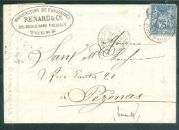 Yvert N°  90 Sur Lsc Oblitéré Cad Gare De Tours En Mars  1878     - Aw8514 - 1877-1920: Semi-moderne Periode