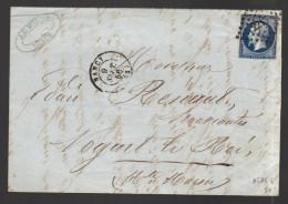 FRANCE 1856 N° 14 Ab (bleu Noir) Obl. S/lettre  PC 2217 Nancy - 1853-1860 Napoleon III