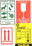 AVIATION -  VARIG  -  ETIQUETTES  FRET  AERIEN   Collées Sur Une Feuille De Papier. - Stickers