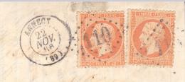TIMBRE N° 23 SUR FRAGMENT OBLITERATION GROS CHIFFRES -110-ANNECY   1868 - Marcofilie (losse Zegels)
