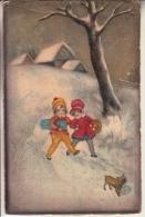 BAMBINI  COPPIA  CANE DONI VG 1929 AUTENTIQUE ORIGINALE D´EPOCA 100% - Scènes & Paysages
