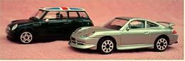 2 Bburago Modellautos  -  Mini Cooper + Porsche Carrera 911 -  Größe 1:43 - Burago