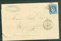 Yvert N° 60 Type 1 ( Defaut )  Oblitéré GC 2145A Lyon-les-Terreaux  - Fevr 1872 - Aw8529 - 1849-1876: Classic Period