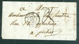 Oblitération Cachet à Date Type 15 De Niort Sur Lac En 1845  Pour Poitiers   - Aw8545 - 1801-1848: Précurseurs XIX
