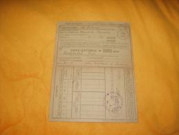 CARTE QUITTANCE INSTITUT D´ASSURANCE SOCIALE D´ALSACE ET DE LORRAINE / ANNEE 1920.  / 52 TIMBRES FISCAUX 2 DIFFERENTS. - Revenue Stamps