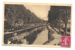 Sancoins (18) : Les Canal Et Ses Berges Au Niveau Des Lavandières En 1945 (animé)  PF+ Oblitération Militaire - Sancoins