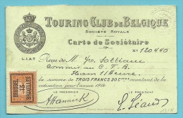 108 Met Preo BRUXELLES 13 Op Lidkaart TOURING CLUB DE BELGIQUE 1914 (Rare / Lidkaart Als Drukwerk Verzonden) !!!! - Precancels