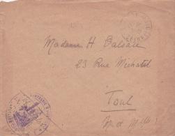 """Franchise """" COMPAGNIE D'AVIATION"""" VERSAILLES SEINE ET OISE Sur 1 Lettre > Toul / Aviation Militaire / Carte - 1. Weltkrieg 1914-1918"""