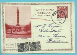 """Kaart Met Stempel HERVE Op 28/08/1931 Naar """"Poste Restante"""" Aix-en-Provence (France) , Twee Zegels Van 15c Aangebracht ! - Stamped Stationery"""