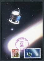 1986 USA Houston Germany Halley's Comet Space Rocket Maxicard - Covers & Documents