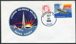 1988 USA Houston Lounge Hilmers Nelson Hauck Covey Space Rocket Cover - Covers & Documents