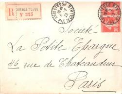2471 AMBLETEUSE Pas De Calais Lettre Recommandée 30c Semeuse Rouge 160 X 2 Ob 1923 Recette Distribution Lautier B4 - Postmark Collection (Covers)