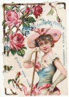CHROMO Découpis Chocolat Poulain Femme Chapeau Fleurs Roses - Poulain