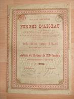 """BELGIQUE - FORGES D'AISSEAU - ACTION AU PORTEUR DE 250 FRANCS  ENTIEREMENT LIBEREE - """" RARE """" - - Actions & Titres"""