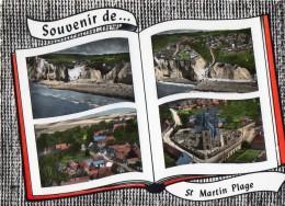 CPSM, (50)  Souvenir De SAIN MARTIN Plage, Plage, Ravin, église, Morval, Jamais Voyagée - France
