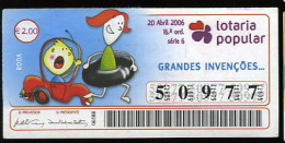 Loterie Populaire PORTUGAL 20-04-2006 Grandes Inventions Roue Loteria Lottery Great Inventions Wheel - Billets De Loterie