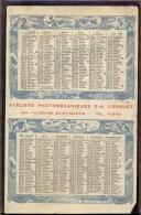 Kalender Calendrier 1906 - Pub. Reclame Ateliers Photomécaniques Longuet - Faubourg Saint Martin - Calendriers
