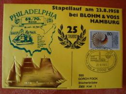 Brief SSS. Gorch Fock,  69./70. Reise, 25 Jahre Stapellauf Am 23.8.1958 Bei Blohm & Voss, Hamburg ! - Ships