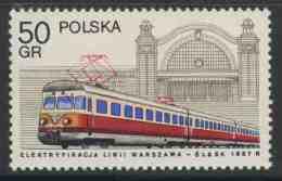 Poland Polska Polen 1978 Mi 2543 YT 2370 ** Electric Locomotive + Katowice Station – Railway Engines / Triebwagenzug - Treinen