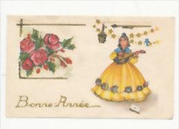 Mignonnette. Bonne Année. Roses, Jeune Fille, Mandoline. Paillettes. 7/11 Cm - Año Nuevo