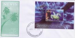NEVIS,2005, TURTLE SOUVENIR SHEET ON LOCAL FDC, - Schildpadden