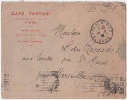 Enveloppe CAFE TORTONI  Franchise Militaire  Obliteration GARE DE NIMES GARD 1918 - Marcophilie (Lettres)