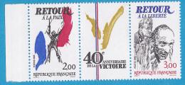 T2369A Triptique Des 2 Timbres Et Du Logo Des 40 Ans De La Victoire - France