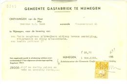 KWITANTIE FISCAAL ZEGEL * Op KWITANTIE GASFABRIEK Uit 1955 Van NIJMEGEN   (7897) - Fiscale Zegels