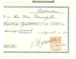 KWITANTIE FISCAAL ZEGEL * Op KWITANTIE Uit 1950 Uit ROTTERDAM (7897b) - Fiscale Zegels