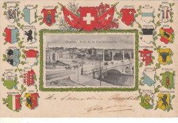 Cpa Pk Genève Pont De La Coulouvreniere Edition L.Ascher Zürich Armoiries Blasons Cantons Suisse Ecusson Rosette - GE Genève