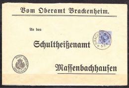 Vordruckumschlag, Dienstbrief, EF Ziffer, Oberamt Brackenheim, Nach Massenbachhausen 1920 (41521) - Wurttemberg