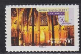 Art Gothique En France, Sainte Chapelle Paris (75),  De Feuille Boutique Pro TVP -20g Autocollant Timbre 562a Neuf - Adhesive Stamps