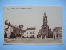 Ma Réf: 56-16-7.                     MOUSTIER    L'Eglise Et Le Monument Sur La Place.    ' Teinte Bistre ). - Jemeppe-sur-Sambre