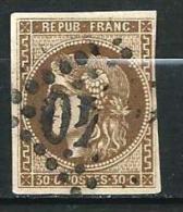 """YT 47 """" Bordeaux Cérès 30c. Brun """" 1870 Losange XX40 - 1870 Bordeaux Printing"""