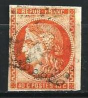 """YT 48 """" Bordeaux Cérès 40c. Orangef """" 1870 Losange - 1870 Emission De Bordeaux"""