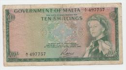 Malta 10 Shillings 1949 (1963) VG+ P 25 - Malte