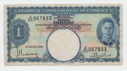 Malaya 1 Dollar 1941 AVF+ Banknote KGVI P 11 - Maleisië