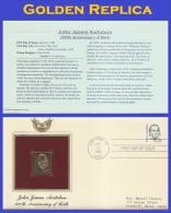#1863 ADDR GOLDEN REPLICA FDC STR2  John J. Audubon - First Day Covers (FDCs)