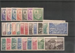 ANDORRE  Années 1944/46 N° Y/T 93/118*/** Côte: 36,80 €