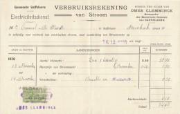 1926 Facture Saffelaere Verbruiksrekening Van Stroom Omer Clemminck Electricity - Électricité & Gaz