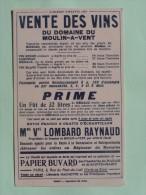 DOMAINE DU MOULIN - A -VENT à Aubais (Gard) - Buvard 1907 - Mme Vve LOMBARD RAYNAUD  , Propriétaire . - Alimentaire