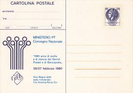 CARTOLINA POSTALE DA 120 LIRE-MINISTERO PT CONVEGNO NAZIONALE 1980 -1^ SERIE - 6. 1946-.. Repubblica