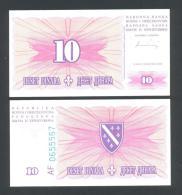 BOSNIA,  10 Dinara 15-8-1994 UNC  (P-41) , BANKNOTE THAT´S  SCARCE IN UNC ! - Bosnia And Herzegovina